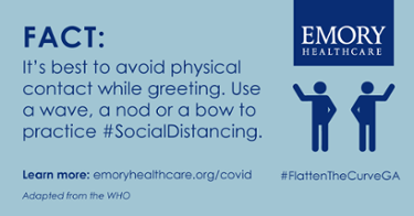 It's best to avoid physical contact while greeting. Use a wave, a nod or a bow to practice #SocalDistancing.