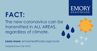 The new coronavirus can be transmitted in ALL AREAS, regardless of climate.