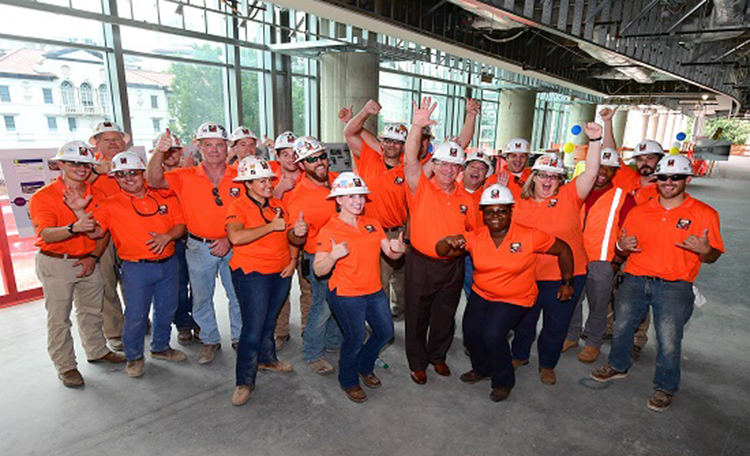 McCarthy Construction at the topping out ceremony for the J-Wing project. Thank you for all your hard work!